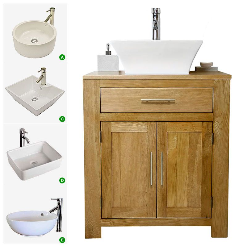 Solid Oak Vanity Unit With Basin Sink 700mm Bathroom Prestige