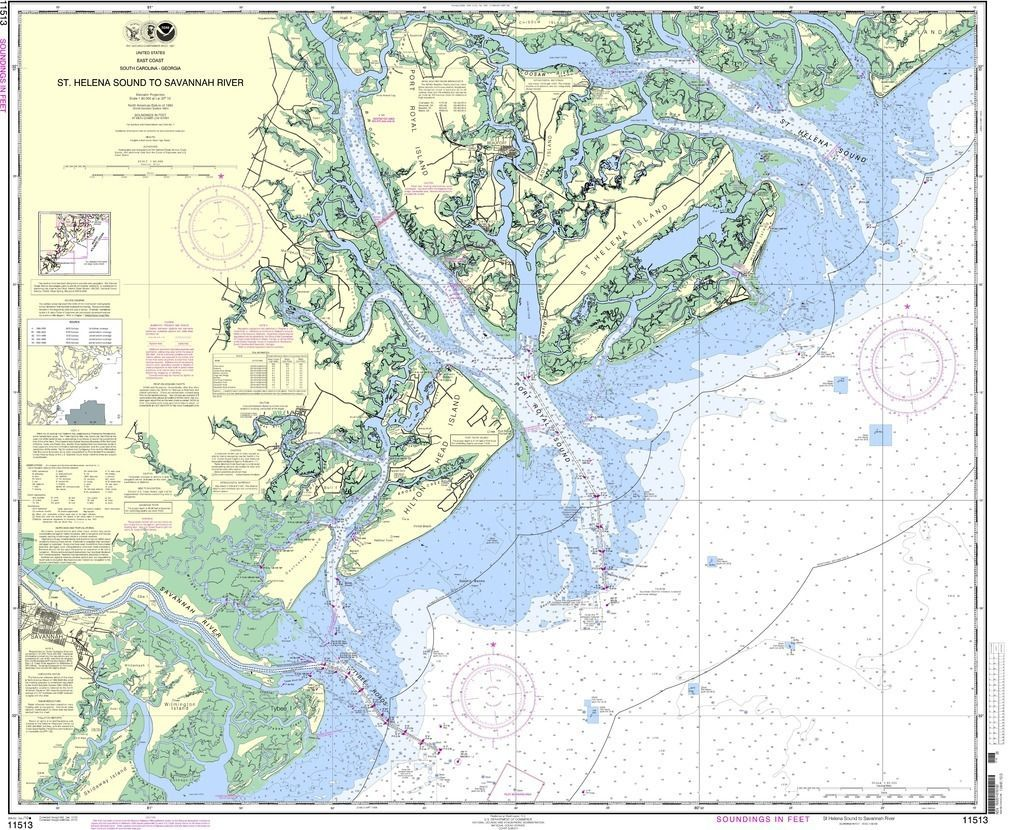 NOAA Nautical Chart 11513 St Helena Sound to Savannah River new