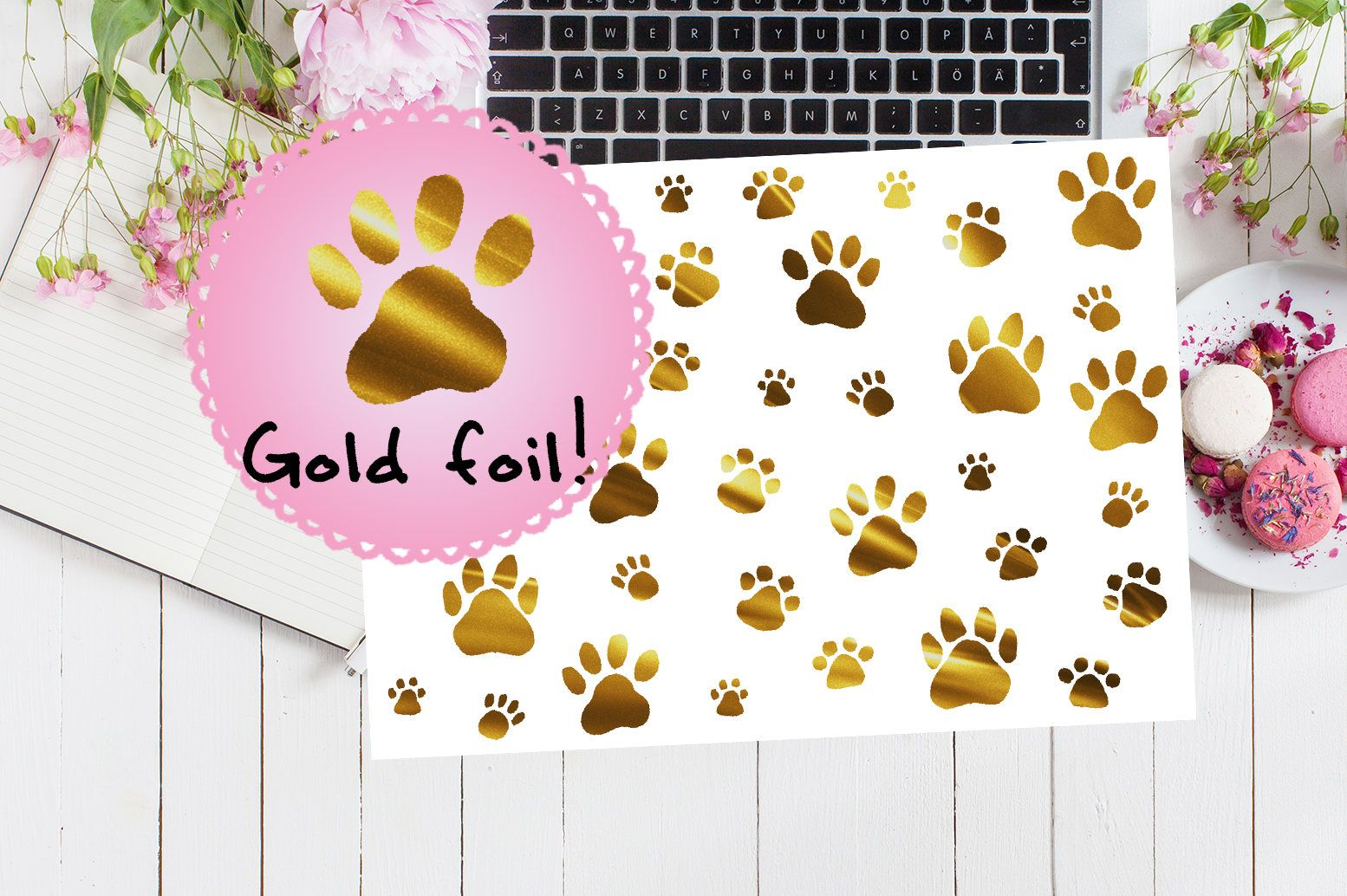 30 clear foil paw print stickers animals dogs cats pet gold foiled metallic stickers planner cute diary calendar shiny gift
