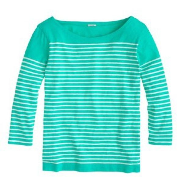 """J. Crew Stripe Boatneck Top J. Crew green engineered stripe boatneck top. This slim top has some artful origins—a photo of Picasso hanging in the design area, in which he's wearing an iconic stripe sailor tee. To recreate the layout, the team carefully engineered the skinny stripe to hit slightly lower on the arms (which happens to be super-flattering). Slim fit. Cotton. Body length: 24"""". Machine wash. Only worn once! Excellent condition! No trades/pay pal. J. Crew Tops"""