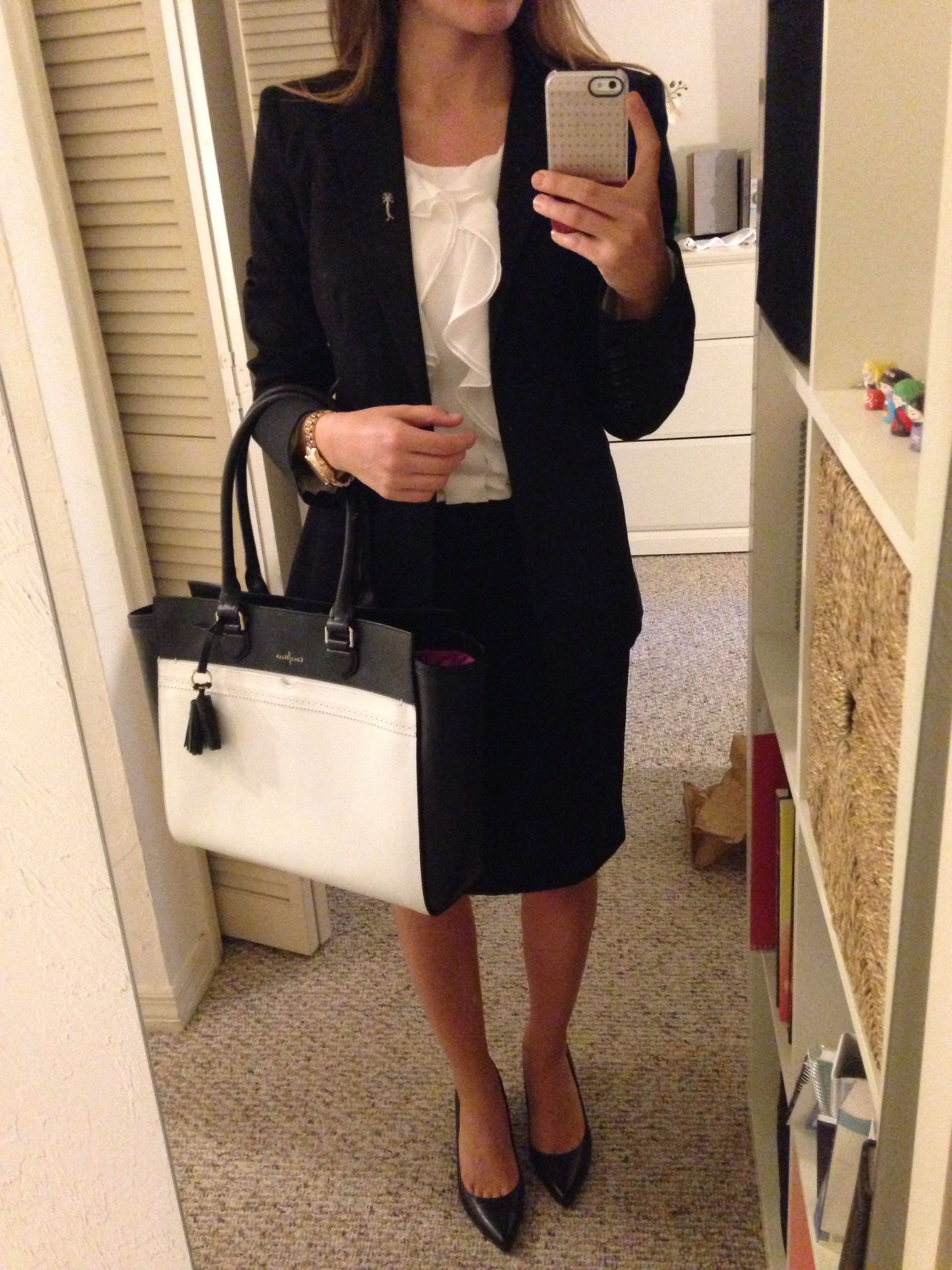 0a8f6880a Interview outfit - Express black blazer and pencil skirt, H&M white blouse,  Cole Haan pointy low pumps, Cole Haan tote, MK watch