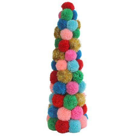 Part of our Bohemian Holiday collection this fun cone tree will give your Christmas decor a vibrant whimsical feel! This Christmas tree is cone shaped and accented with plush multi-color pom poms. Perfect for adding some color to your mantel or end table. Features: Wool pom pom table top Christmas tree Features red green blue turquoise magenta salmon pink gold tinsel flakes balls Pom poms come attached to a lightweight cone shaped base Recommended for indoor use only Dimensions: 19.25 inch high