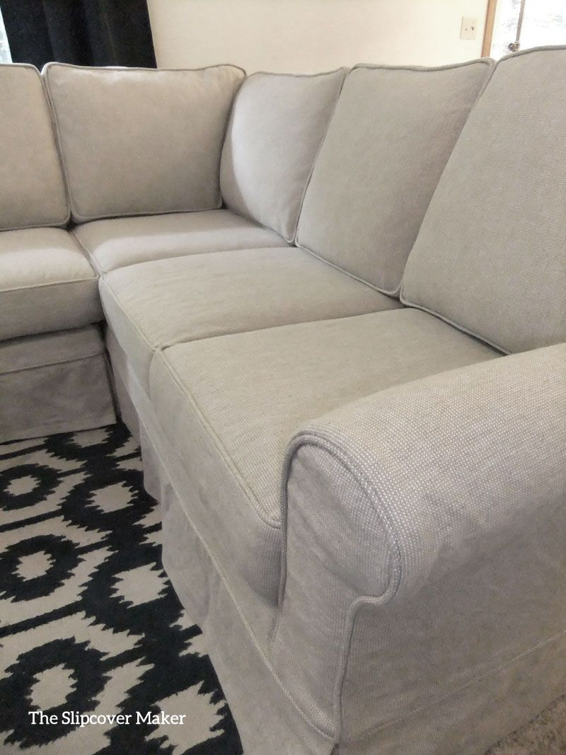 Sectional Slipcover In Rustic Linen Cotton Interior