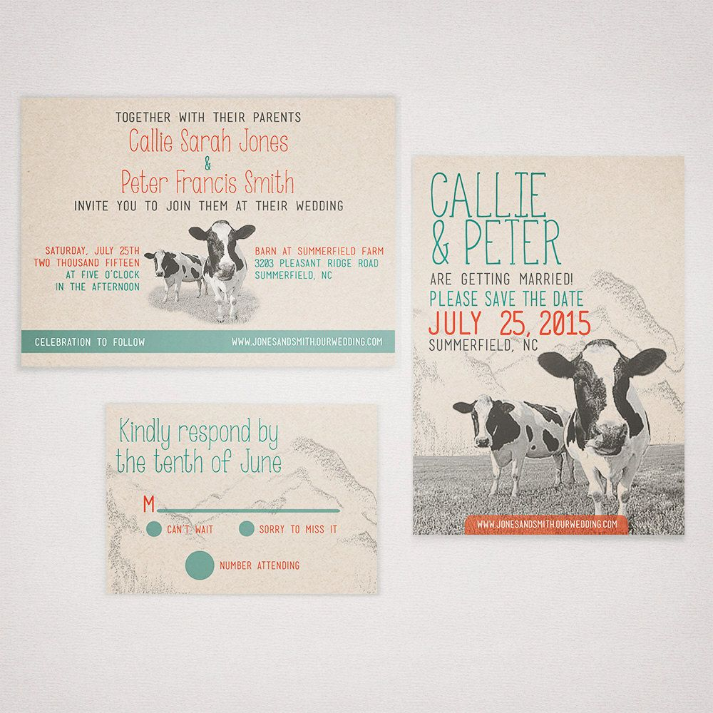 New To Elanakleindesign On Etsy Rustic Cow Wedding Invitation Suite Printed Party Invite Kraft Brown Country Field Mountains Farm Vermont Green Red: Funny Shotgun Wedding Invitations At Websimilar.org