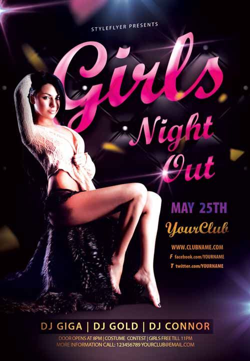 Girls Night Out Party Free Flyer Template - http\/\/freepsdflyer - club flyer background