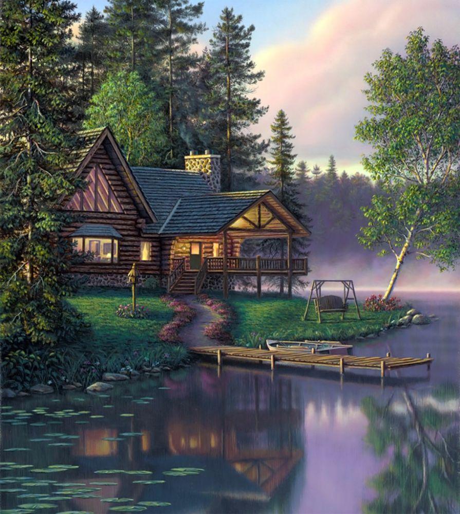 Картинки домик в лесу анимация