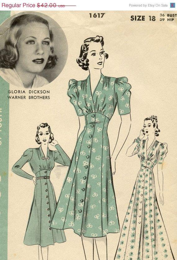 1617 Hollywood Dickson 1930s Actress Gloria Vintage Dress Pattern qq1rnx5wf0