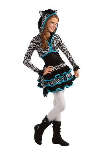 Teen Girls Zebra Tween Animal Halloween Costume Set | Favorite ...