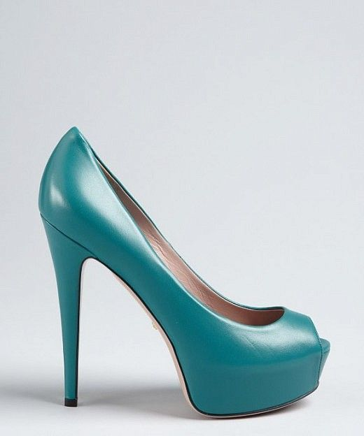 Gucci dark parrot leather peep toe platform pumps, teal green