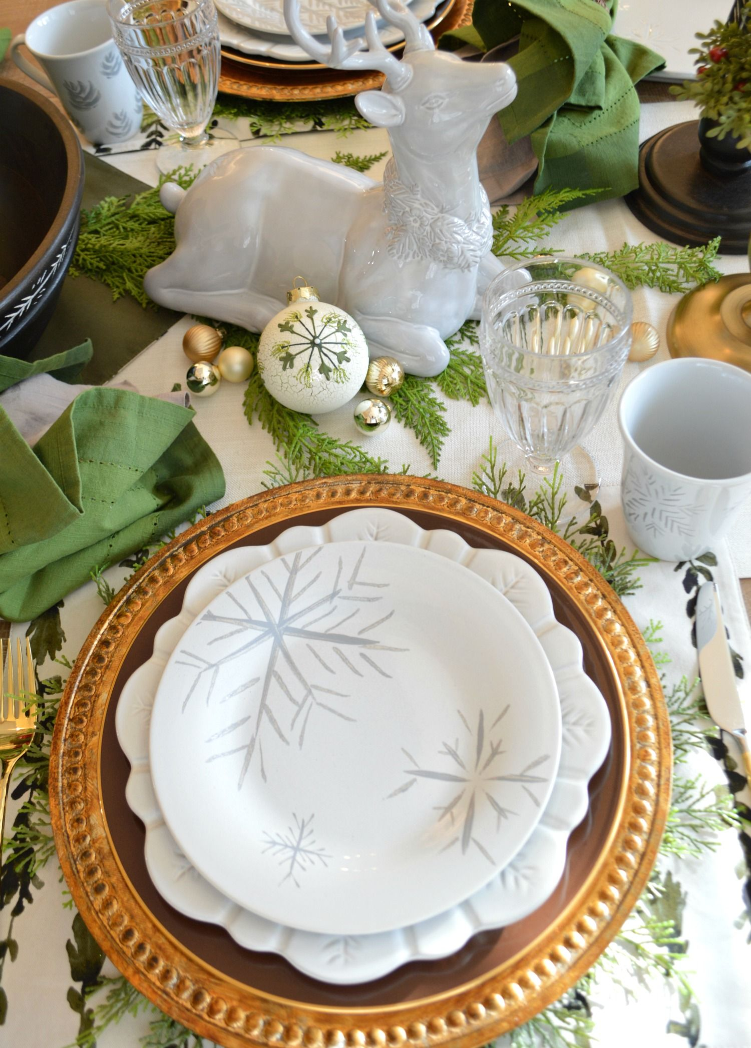 Lenox Alpine Collection Available Through Direct Link Lenox Alpine Rustic Christmas F Farmhouse Table Decor Holiday Table Decorations Holiday Table Settings