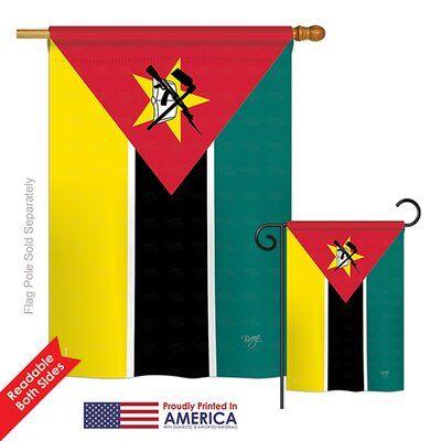 Breeze Decor Mozambique Of The World Nationality Impressions Decorative Vertical 2 Sided Polyester Flag Set Breeze Decor Flag Design Decor