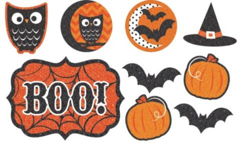 Glitter Halloween Cutouts 9ct - Modern Halloween - Party City - halloween decorations and crafts