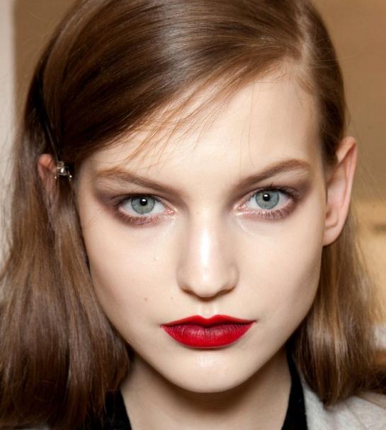 porcelain skin crimson lips Beauty Red lipstick makeup