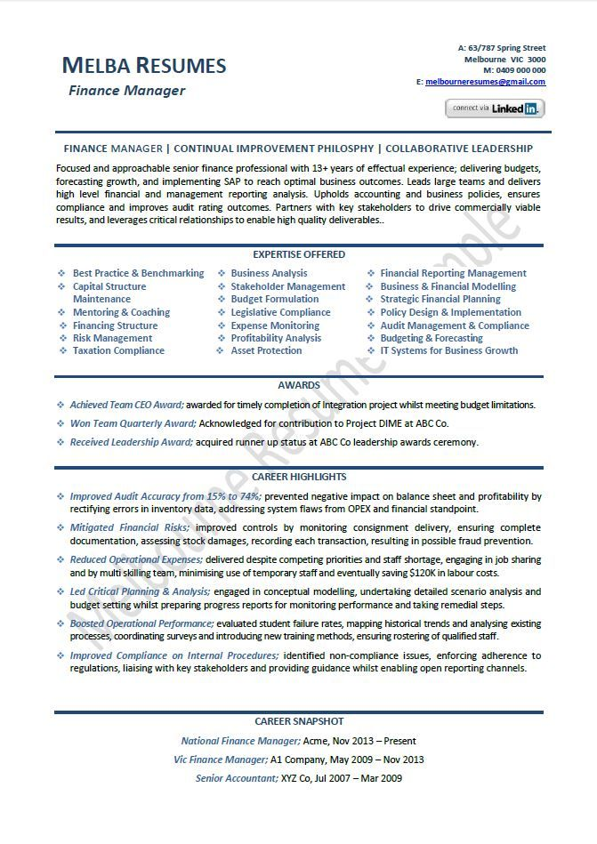 finance manager resume example template director sample samples - chartered accountant resume