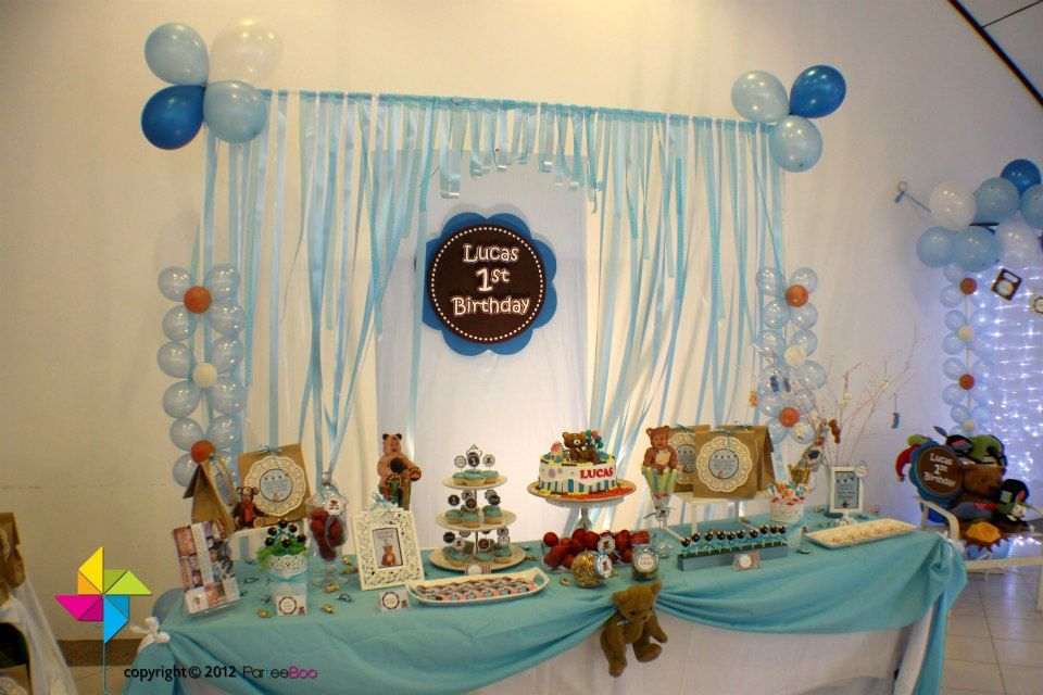 Backdrop Cake Candy Table For A Teddy Bear Themed Birthday Party Birthday Party Themes Birthday Theme Teddy Bear Birthday