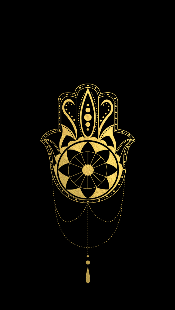 Black And Gold Hamsa IPhone Wallpaper Background