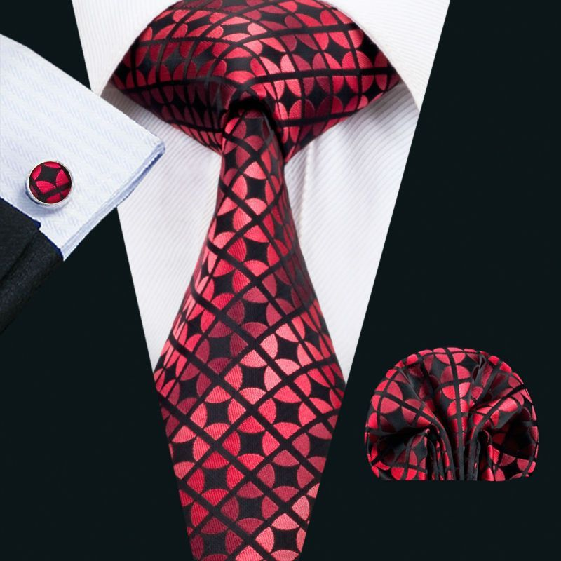 607ff37e8170 Classic Men`s Tie Red Novelty Silk Necktie Neckwear Hanky Cufflink Set For  Men`s Wedding Party Business