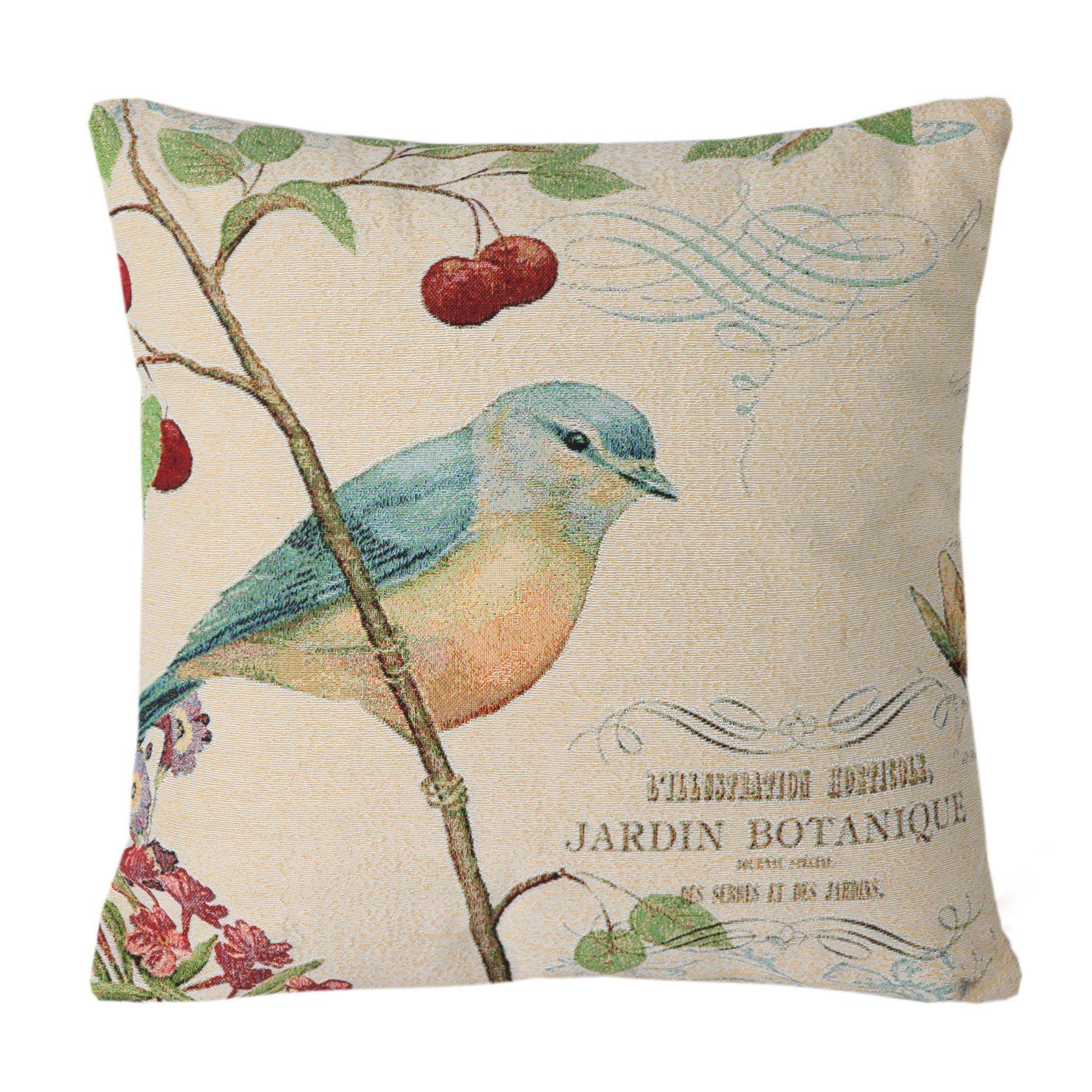 Simpledecor jacquard bird on the tree accent decorative throw pillow