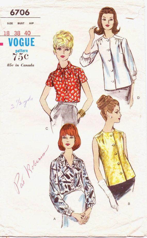 Vintage 1960s Vogue Pattern 6706 Womens Classic by CloesCloset ...