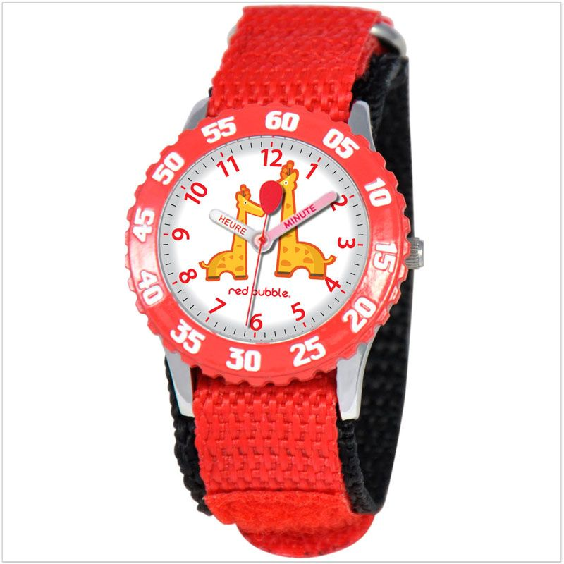 00d1267ea1d0e6 Montre enfant pédagogique rouge avec bracelet résistant en nylon. Cette  jolie montre Red Bubble pour