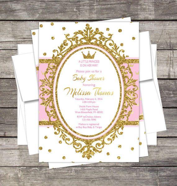 Princess Baby Shower Invitation / Gold Glitter Or Silver