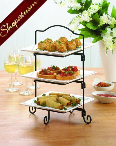 3 Tier Space Saving White Ceramic Buffet Server Plates Buffet Server Kitchen Decor Iron Furniture