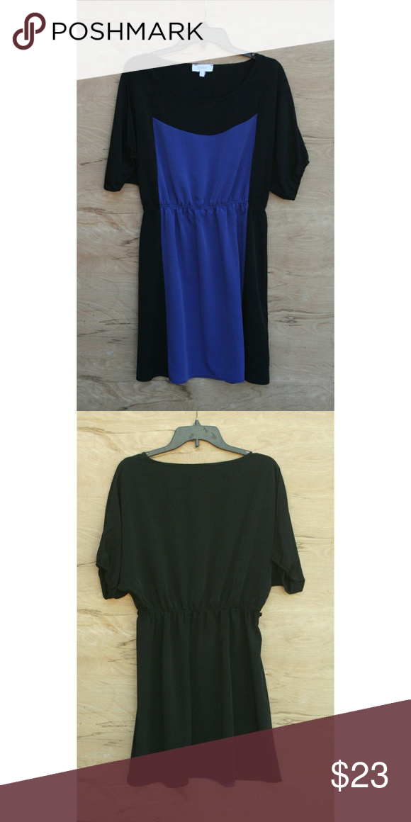 Jaye E Blue Black Color Block Midi Dress Very Cute Vey Comfortable Worn Once To An Event For Work Indoors Does Not Come With The Belt 35 5 Long 13 19
