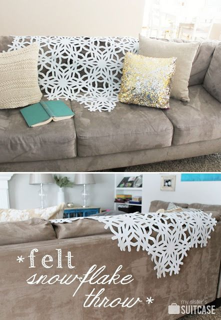 Bring the outdoors in with this easy DIY Felt Snowflake Throw!  Get the tutorial on My Sister's Suitcase!