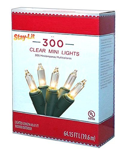 59 ft Strand Traditional IndoorOutdoor Christmas Lights 300 StayLit Mini Bulbs Connective up to 3 Sets or 177 feet ClearGreenWire >>> Check out this great product.