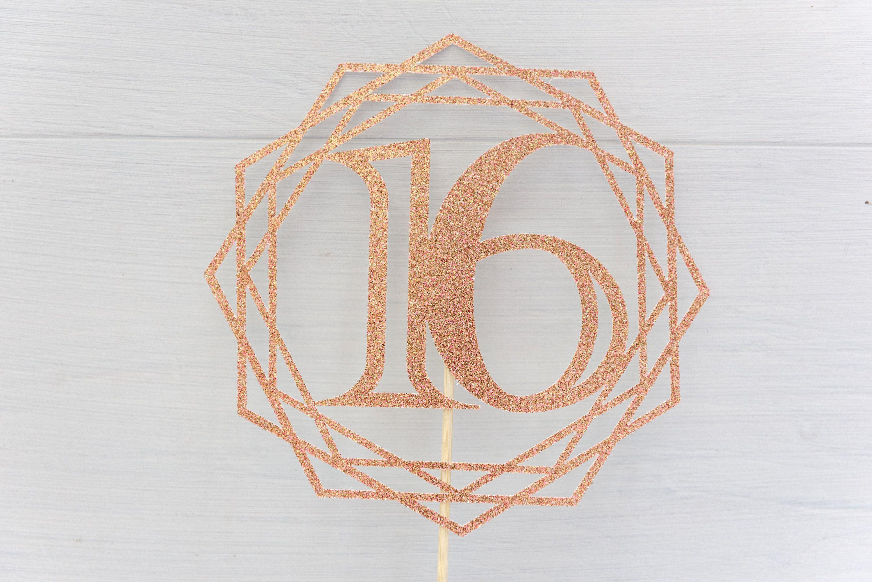 Geometric design glitter cake topper Birthdays Anniversary