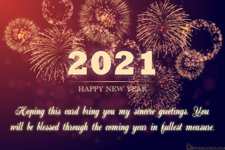 Sparkling Fireworks New Year Greeting Card 2021 In 2020 New Year Greeting Cards New Year Greetings Happy New Year Pictures