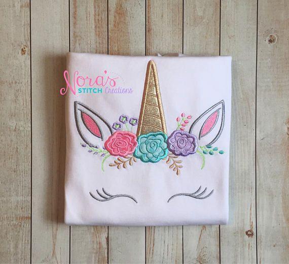 15e10ff0 Floral Unicorn Birthday Shirt, Embroidered unicorn face shirt, Unicorn  Eyelashes shirt, pink, blue, purple pastel unicorn t-shirt