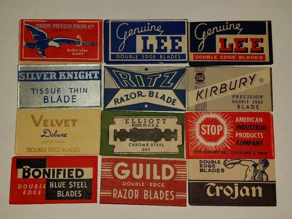 12 different vintage double edge safety razor blades