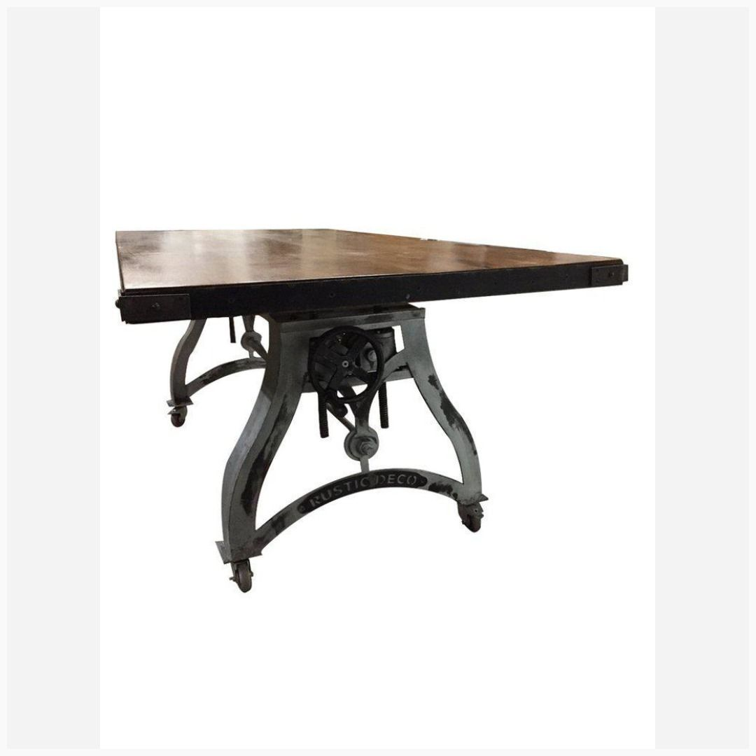 Adjustable Crank Dining Table Classic Vintage Industrial Bar Table In 2019 Rustic Deco Dining Dining Table Vintage Industrial