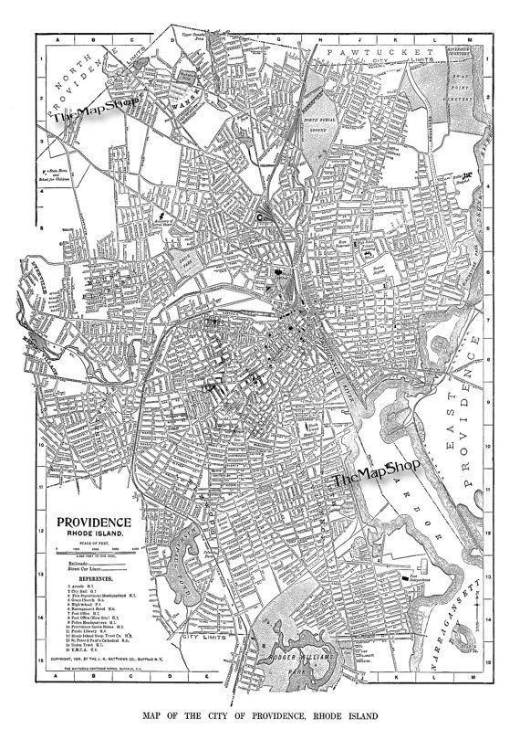 1904 Providence Rhode island Street Map Vintage by TheMapShop