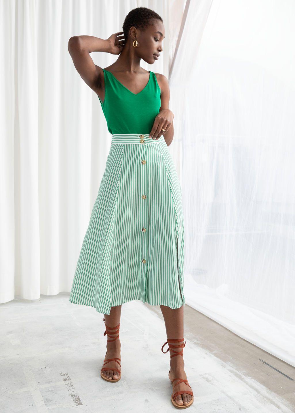 6053a863b Striped Flared Midi Skirt in 2019 | Fashion | Midi flare skirt, Midi ...