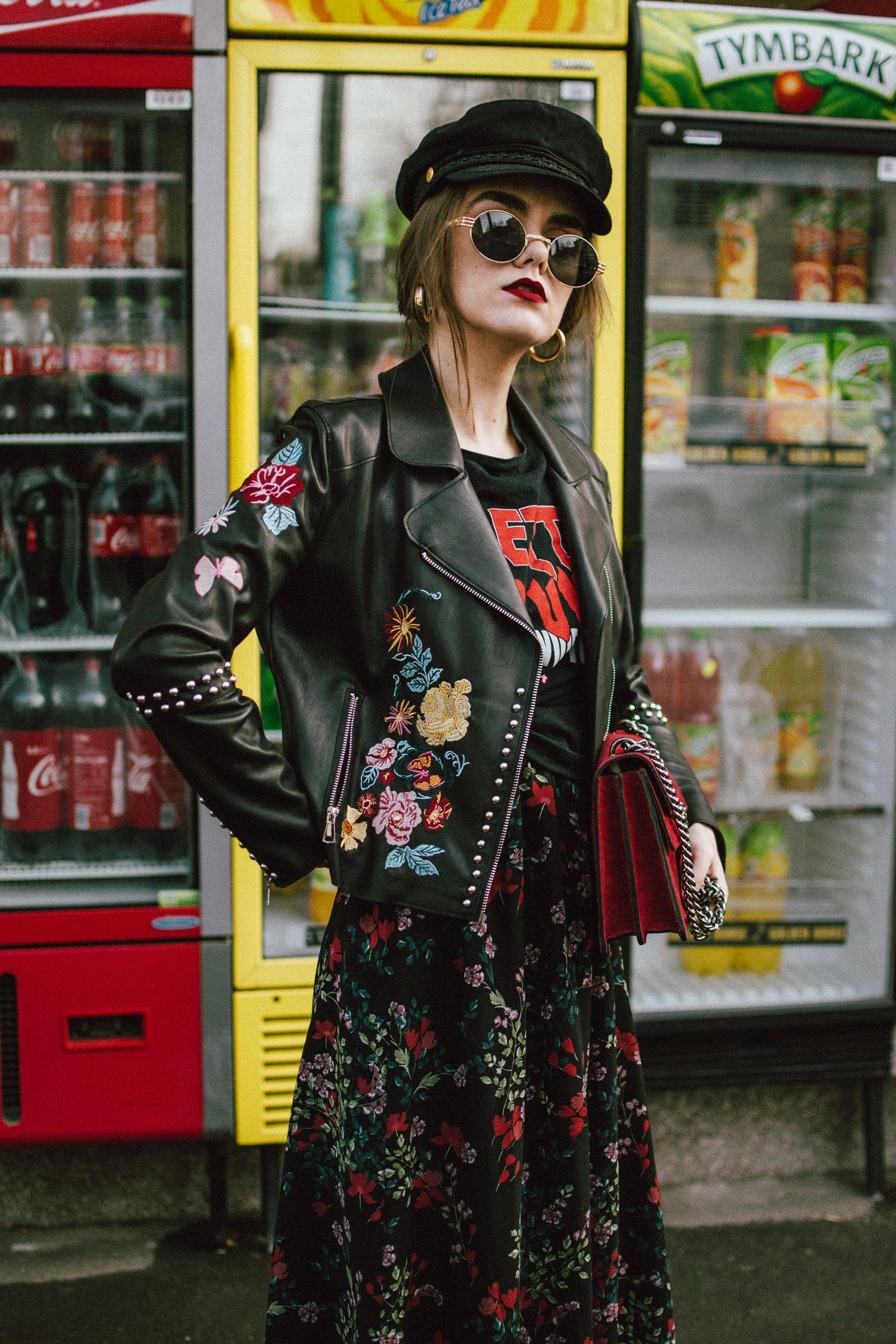 How To Mix Floral Prints Biker Jacket And Midi Dress Couturezilla Floral Leather Jacket Embroidered Leather Jacket Outfits With Hats [ 2250 x 1500 Pixel ]