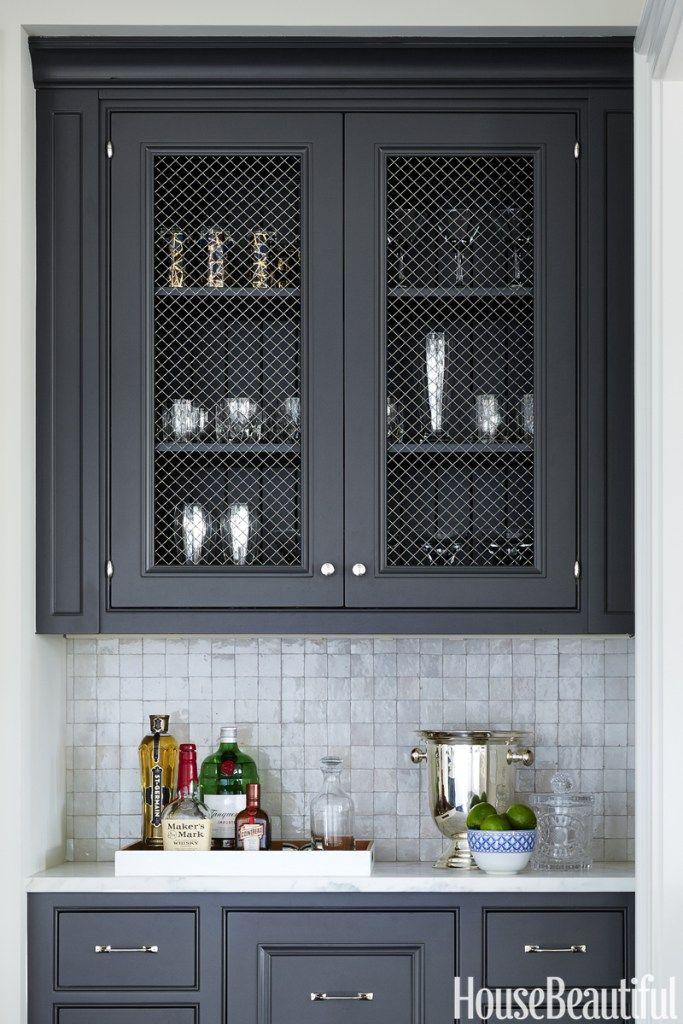 Trend To Try Wire Mesh Cabinets Greystone Statement Interiors Interior Design Blog Grey Painted Kitchen Grey Kitchen Designs Kitchen Interior