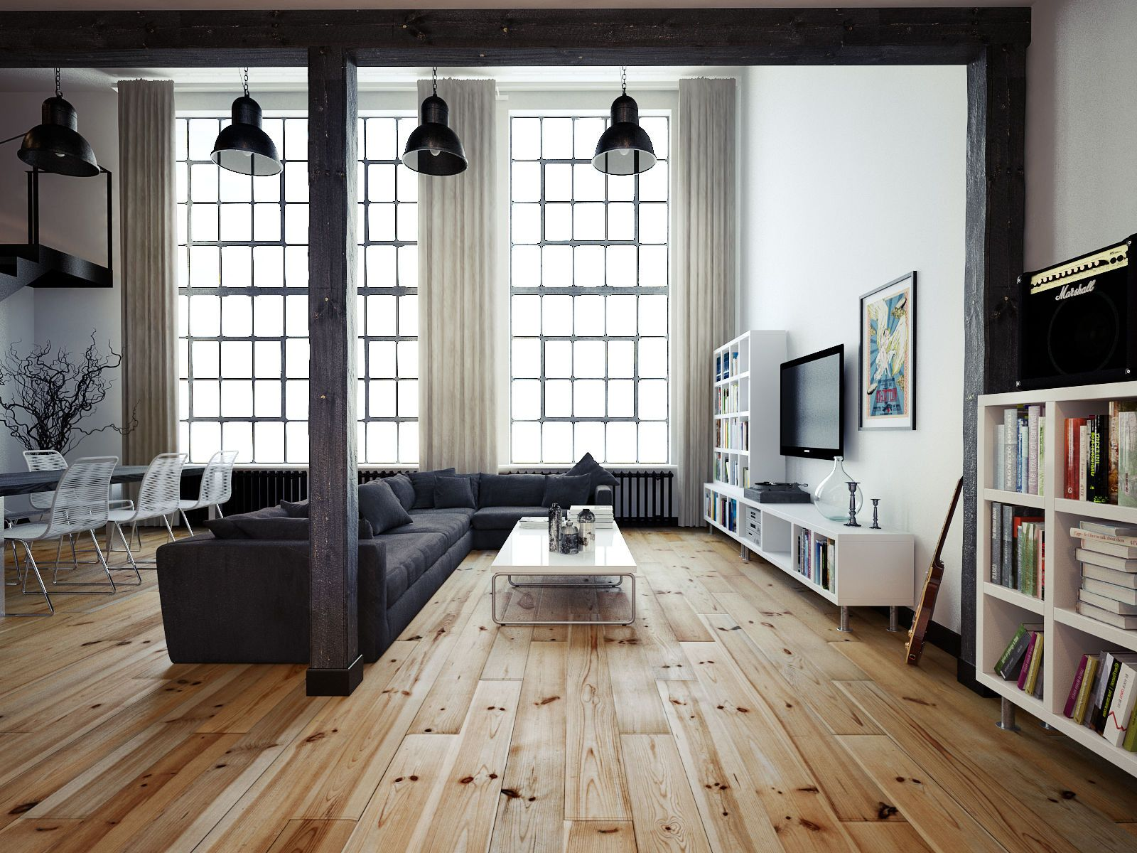 vintage industrial loft wooden flooring and industrial. Black Bedroom Furniture Sets. Home Design Ideas