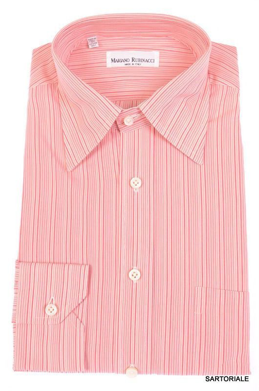 RUBINACCI Napoli Hand Made Pink Striped Cotton Dress Shirt NEW