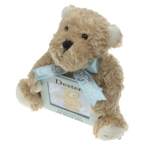 Personalised Blue Musical Teddy Bear with Photo Frame  from Personalised Gifts Shop - ONLY £34.95