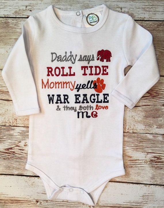 House Divided Auburn Alabama Onesie Daddy says Roll by ...