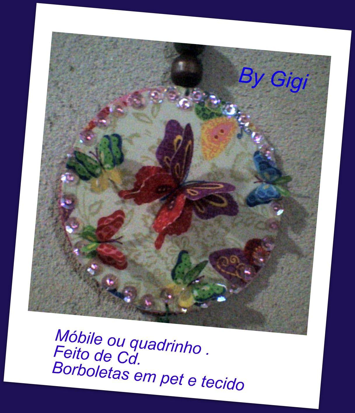 quadrinho de cd revestido de tecido com borboletas de pet e tecido