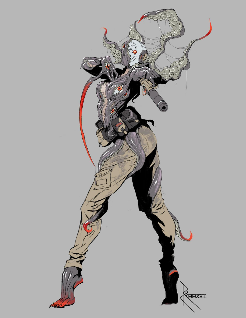 Robert Chew's concept art for a shooter game featuring 7