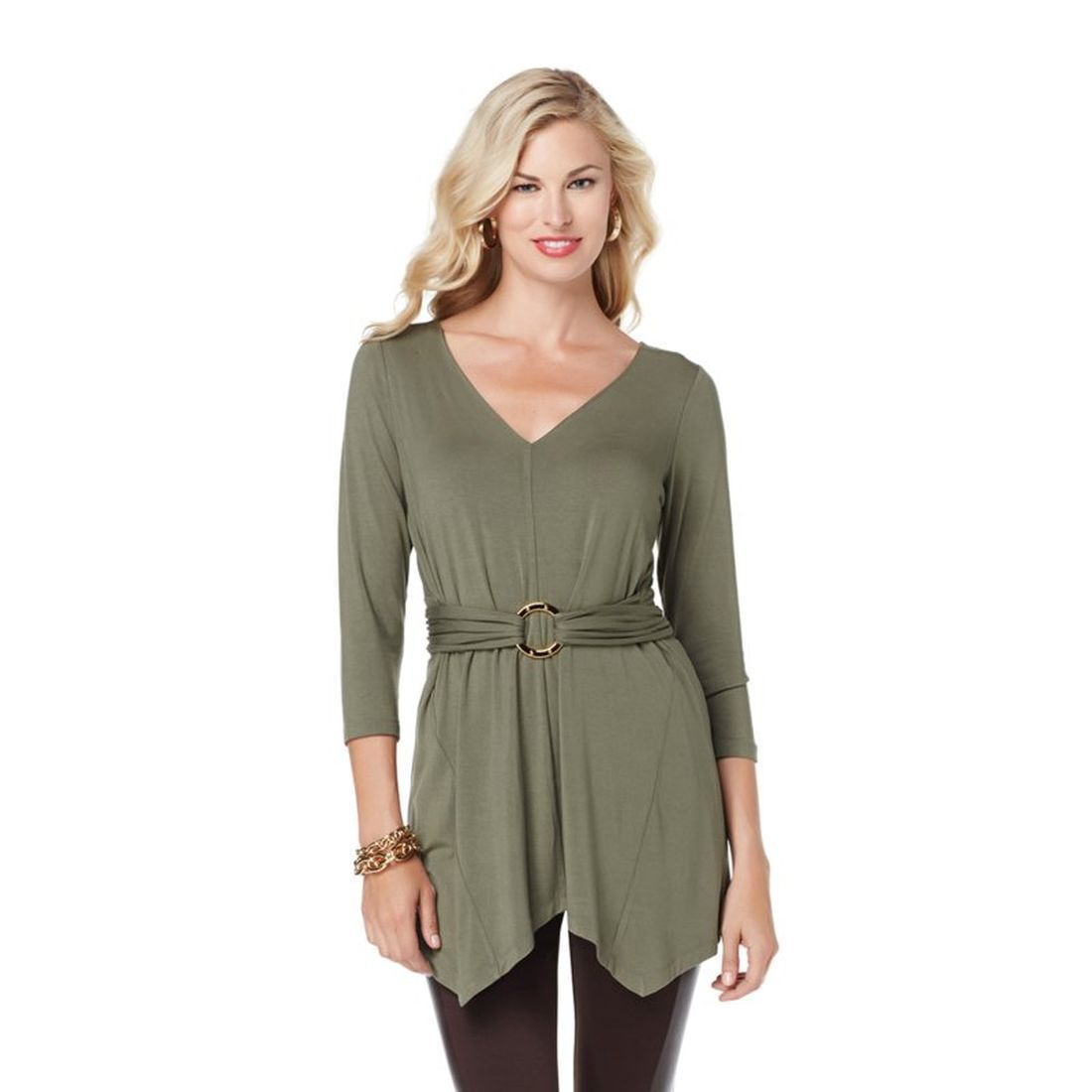 Liz Lange Fashionable Trendy Pretty Handkerchief Hem Top Olive M NEW 346-837 | eBay