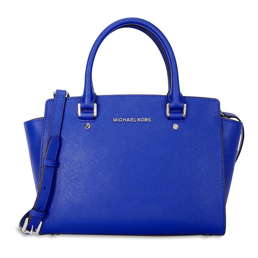 Michael Kors Medium Selma Saffiano Leather Satchel Electric Blue Ebay