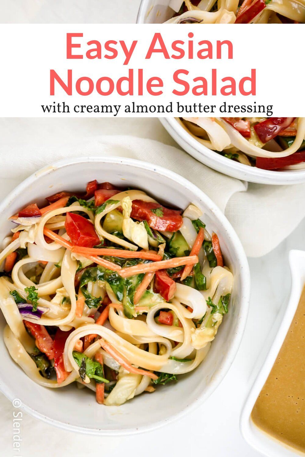 This delicious cold Asian Noodle Salad is packed with crunchy vegetables, rice noodles, and a tasty almond butter dressing that can be made sweet or spicy. #dinner #lunch #salad #sidedish #kidfriendly #makeahead #quickandeasy
