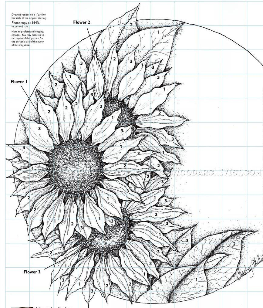 Relief carving patterns sunflower clock wood carving flowers