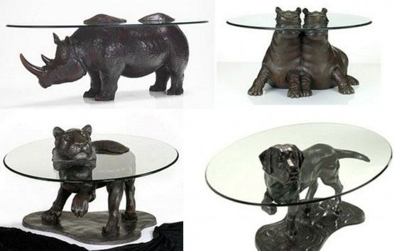 Unique Dining Table With Animal Sculpture As Leg By Mark 5 Animal Coffee Table Cool Coffee Tables Unique Dining Tables