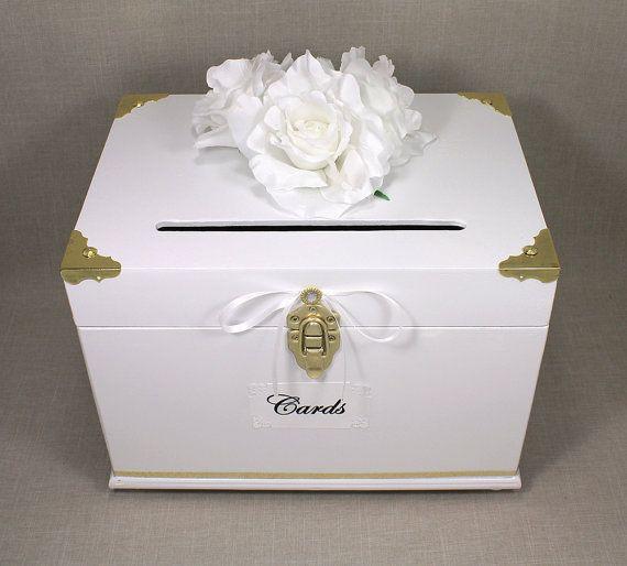 White & Gold Wooden Wedding Card Box Trunk, Card Holder, Money Box ...